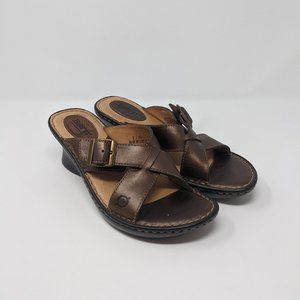 Born Bronze Strappy Leather Sandal Wedge Wmns 8